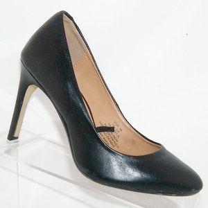 H&M black leather almond toe pump heel 5.5 EU 36